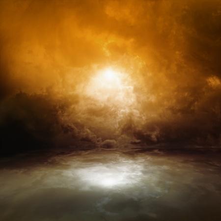 infierno: Mar de fondo - de color rojo oscuro cielo cambiante, con reflejo en el agua