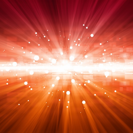 glowing star: Abstract background - bright red lights with beams