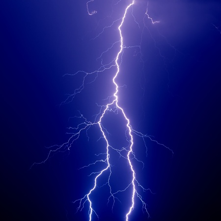 Nature force background - big lightning in dark sky photo
