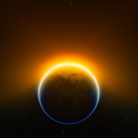 end of world: Global warming background - glowing planet Earth in space  Elements of this image furnished by NASA  Stock Photo