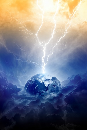 Scientific background - big lightning hits planet Earth in dark dramatic sky Stock Photo - 14799130
