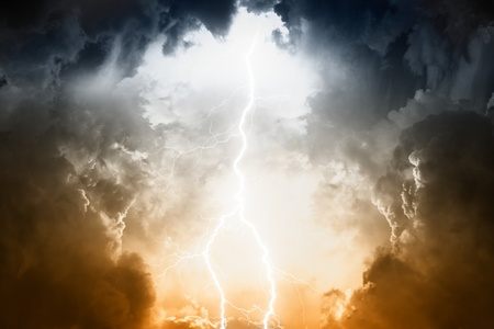 Nature force background - lightnings in stormy sky with dark clouds and rain Stock Photo - 14887108