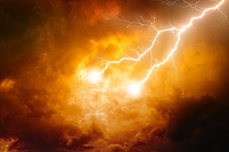 Nature background - lightnings in red sky  Stock Photo - 14887101