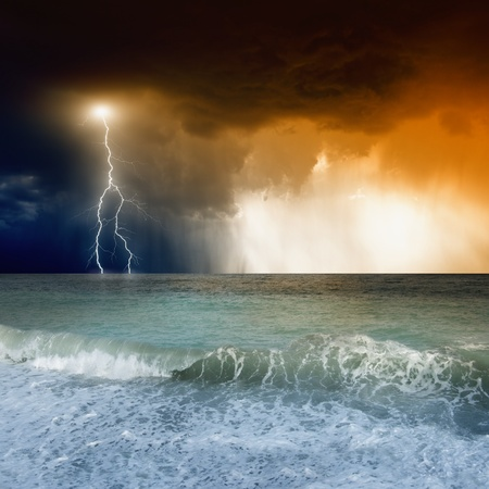 Nature force background - lightning in dark sky, sea Stock Photo - 14887115