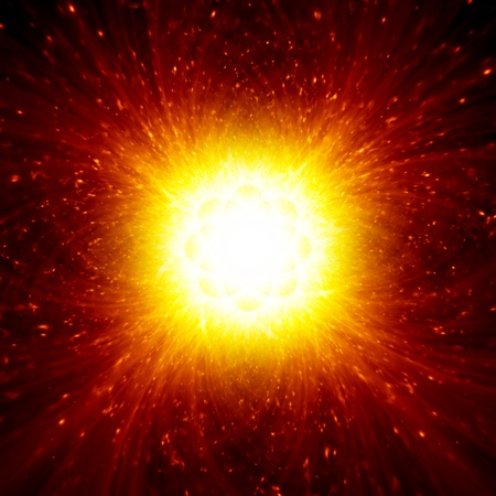 Abstract science background - bright red lights looks like explosion of star in space Stock Photo - 14887107