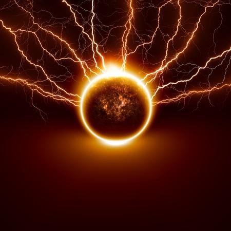 infierno: Cient�fico de fondo - el planeta Tierra en peligro, golpeado por rel�mpagos grandes elementos de esta imagen proporcionada por la NASA