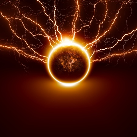 Scientific background - planet Earth in danger, struck by big lightnings  Elements of this image furnished by NASA Stock Photo