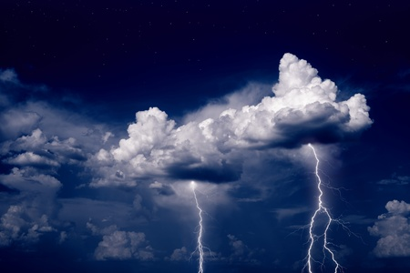 stormy sky: Nature force background - lightnings in stormy sky