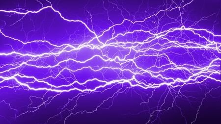 Nature force background - lightnings in dark sky Stock Photo