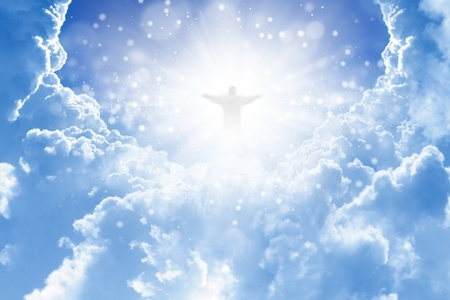 jesus cross: Jesus Christ in blue sky with clouds - heaven