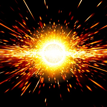 Abstract science background - big exploding in space, big bang theory Stock Photo