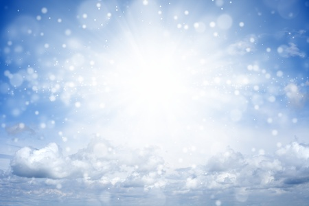 Peaceful background - bright sun shines, blue sky, white clouds - heaven Stock Photo - 15070810