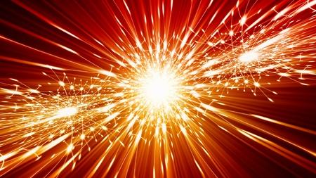 Abstract celebration background - bright orange lights, flash, illumination