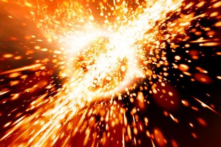 impacts: Abstract scientific background - exploding of planet in space