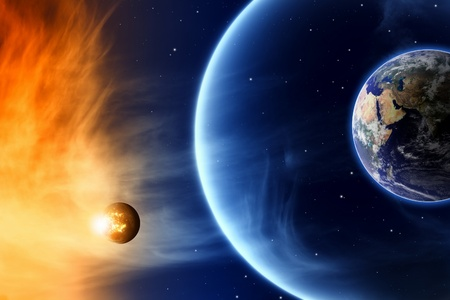 destroying: Abstract scientific background - save planet Earth  Elements of this image furnished by NASA