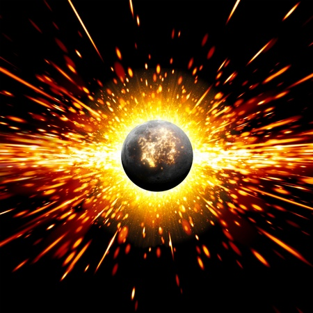 big bang theory: Abstract scientific background - exploding of planet in space  Elements of this image furnished by NASA  Stock Photo