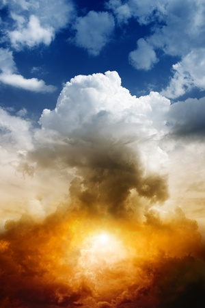 Mushroom cloud from nuclear bomb explosion photo