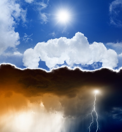 meteorology: Heaven and hell  Good vs evil  Bright and dark sky with lightning