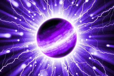 lightnings: Abstract scientific background - planet with lightnings Stock Photo