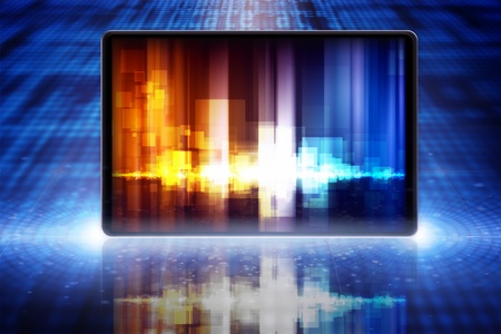 Abstract tablet PC, smartphone, laptop with equalizer on screen Stock Photo - 15803788