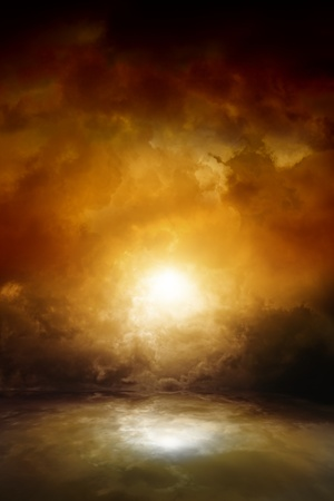 Dramatic background - dark moody sky, bright sun with reflection in water  Armageddon, apocalypse, hell  photo