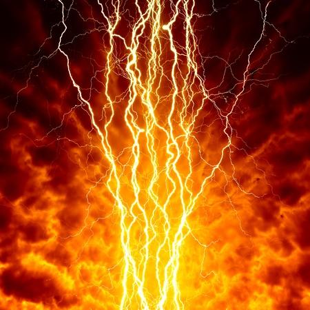 armageddon: Apocalyptic, armageddon background - bright lightnings in dark red sky  Hell, inferno