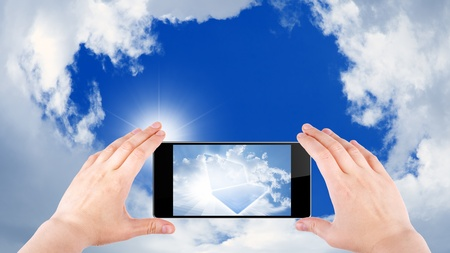 reality: Technology background, cloud computing, augmented reality, abstract smartphone in hands, multimedia gadget