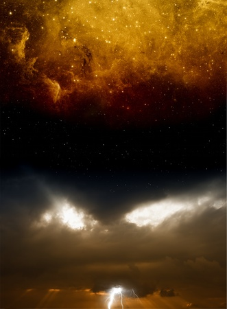 Abstract dramatic background - dark sky with lightnings and stars  Elements of this image furnished by NASA Stock Photo