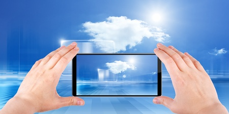 reality: abstract smartphone in hands Stock Photo