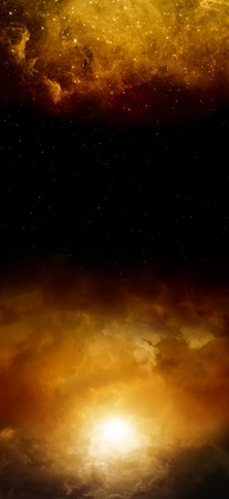 Abstract vertical background - dark red sky with sun and stars  Elements of this image furnished by NASA photo