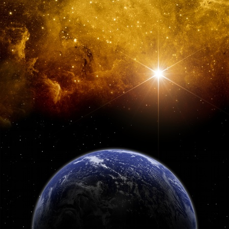 fantasy fiction: Abstract scientific background - planet Earth in space with stars  Elements of this image furnished by NASA
