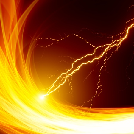 bolts: Dangerous background - burning flame and lightnings