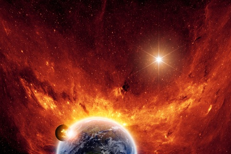 belief system: Abstract scientific background - exploding planet and planet earth in space with stars
