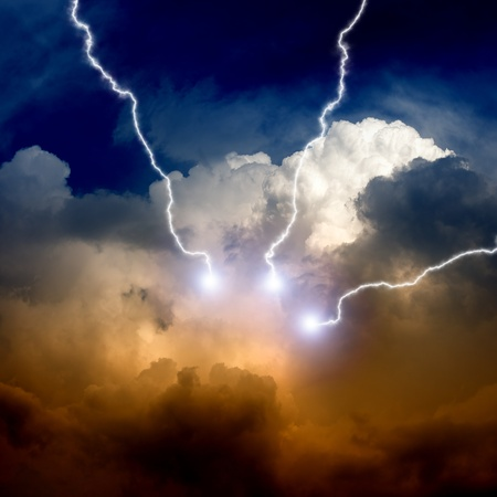 holy bible: Dramatic background - lightnings in sunset sky with dark clouds