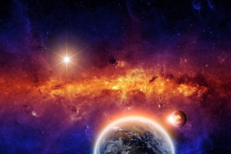 Abstract scientific background - exploding planet and planet earth in space with stars  Elements of this image furnished by NASA-JPL-Caltech Stock Photo - 16351970