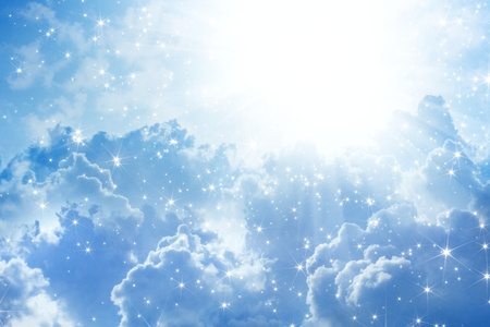 Peaceful background - beautiful blue sky with bright sun, heaven Stock Photo - 16351973
