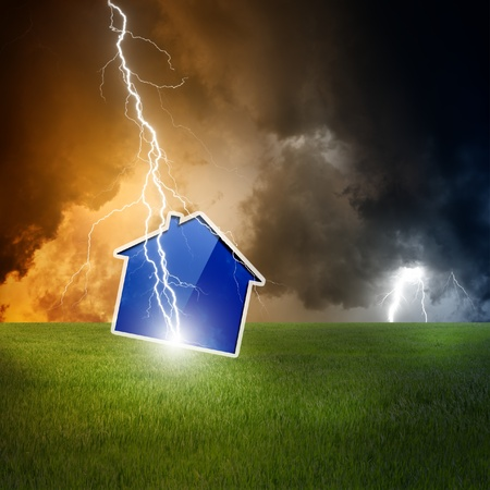 foundation problems: Concept of crisis, lightning struck new abstract house, dark moody sky
