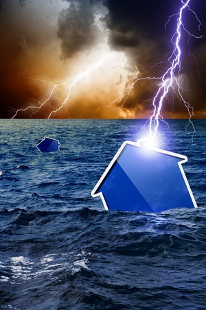 foundation problems: Concept of crisis, lightning struck new abstract house, house sinks, dark moody sky