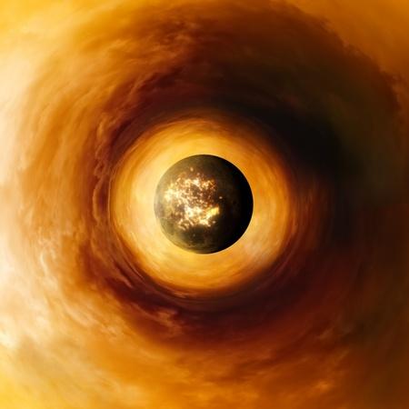 Formación científica abstracto - planeta explotando en el cielo ardiente rojo
