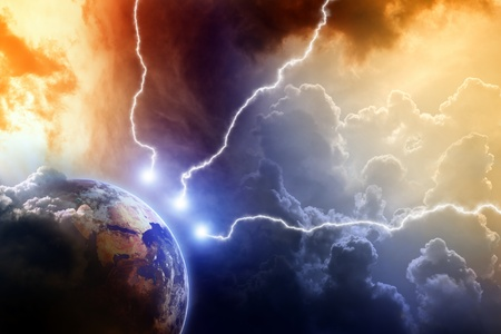 bolt: Dramatic apocalyptic background, mayan end of time, lightnings hits planet earth, armageddon,
