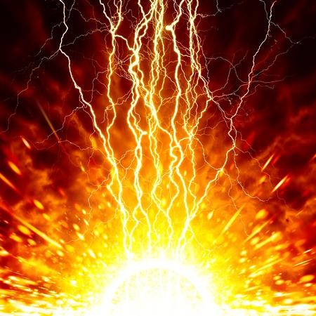 Abstrakte apokalyptischen Hintergrund - helle Blitze, explodierende Sterne, roter Himmel, Ende der Welt
