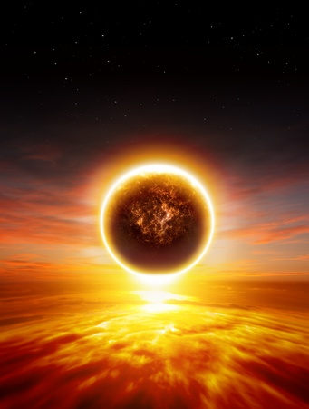 Abstract apocalyptic background - sunset, red sky, exploding planet, end of world photo