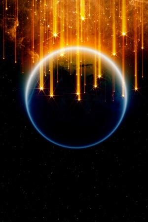 Résumé de fond fantastique - des étoiles filantes, la planète Terre dans l'espace, à la fin du monde