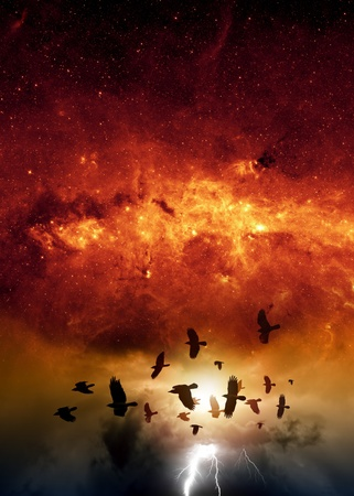 Flock of flying ravens, crows in dark sky, bright lightning, red galaxy, end of world   Elements of this image furnished by NASA JPL-Caltech photo