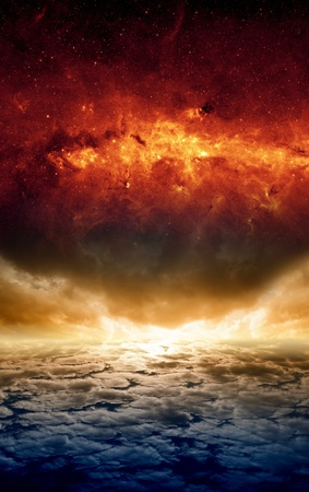 Abstract apocalyptic background - dramatic sunset, red galaxy, end of world  Elements of this image furnished by NASA-JPL-Caltech photo