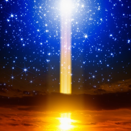 mystery of faith: Abstract fantastic background  Energy, exploding, experiment, spotlight  from sky, bright blue stars