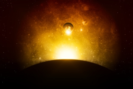 Abstract apocalyptic background - planet explosion, red galaxy, end of world  Elements of this image furnished by  JPL-Caltech photo