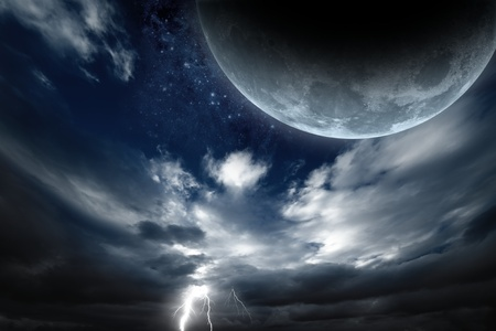 Abstract fantastic background - big moon, dark sky with lightning  photo