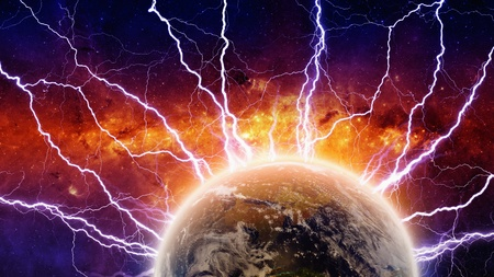 belief system: Dramatic apocalyptic background, mayan end of time, lightnings hits planet earth, armageddon  Elements
