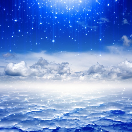 Peaceful background - blue sky, bright stars, heaven Stock Photo - 16832335